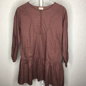 DP...am Brown Print Long Sleeve Boho Dress